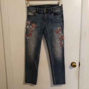 WHBM Frayed Cuff Embroidered Jeans 0 Straight